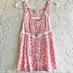 4/$15 SOLEMIO PINK LACE TANK TOP